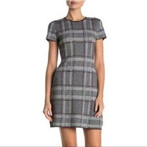 Theory Plaid Short Sleeve Merino Wool Mini Dress